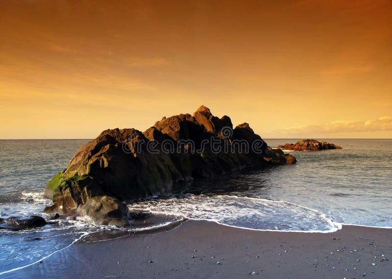 czarny piasek Madeira obrazy royalty free