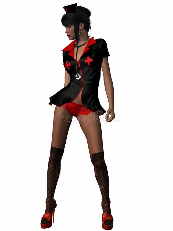 czarny pielęgniarka ilustracji