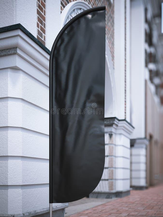 Czarny pionowo sztandar na ulicie świadczenia 3 d ilustracji