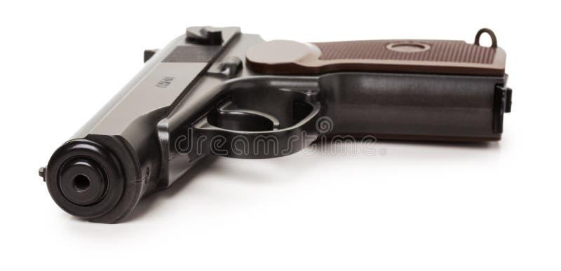Czarny pistolet odizolowywający na białym tle zdjęcie stock