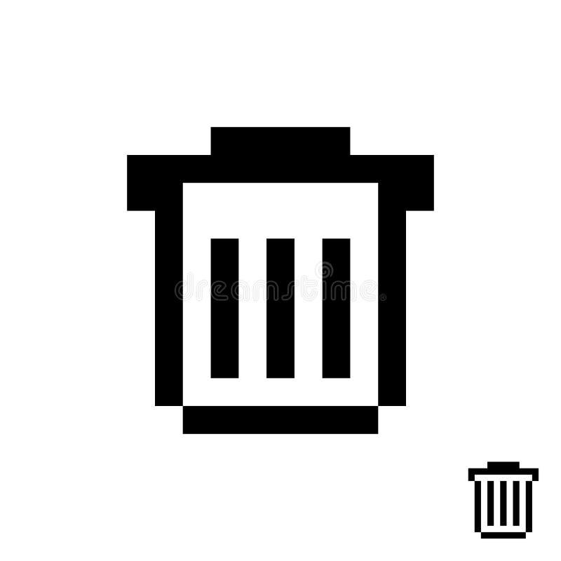 Czarny pixelart kubeł na śmieci ilustracji