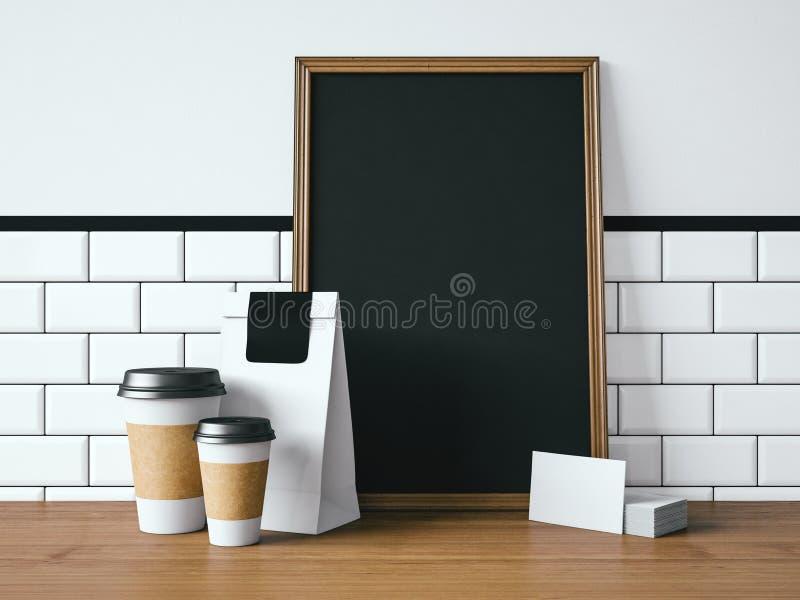 Czarny plakat na stole z pustymi białymi elementami fotografia royalty free