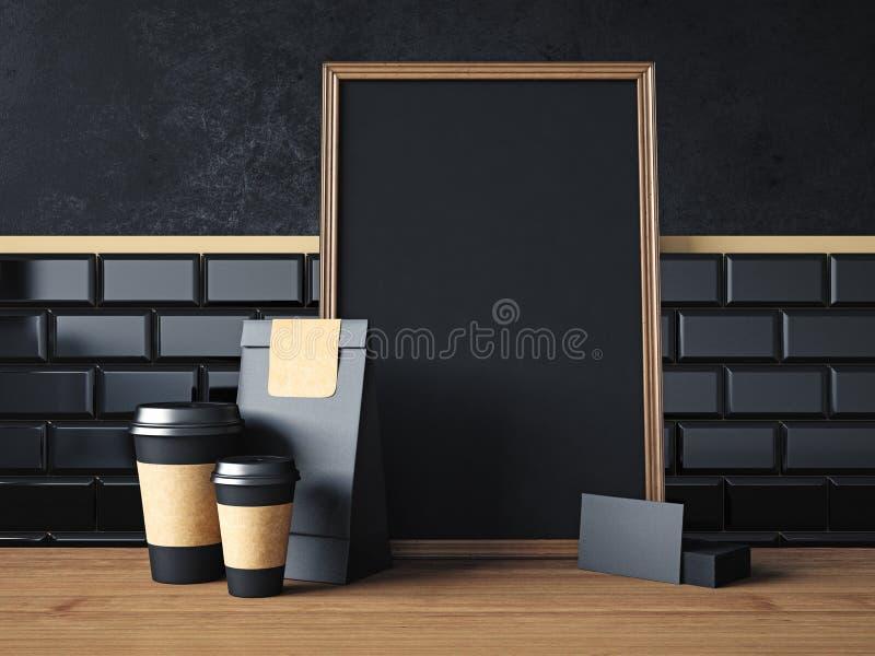 Czarny plakat na stole z pustymi organicznie elementami fotografia royalty free