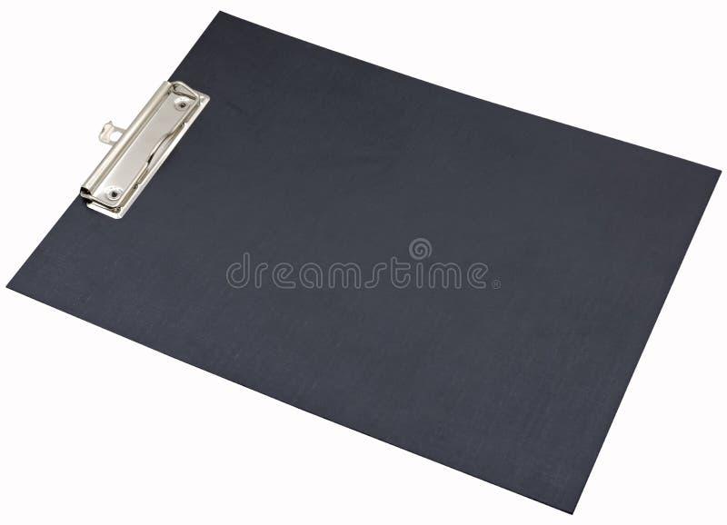 Czarny plastikowy skoroszytowy schowek odizolowywaj?cy na bielu zdjęcia stock