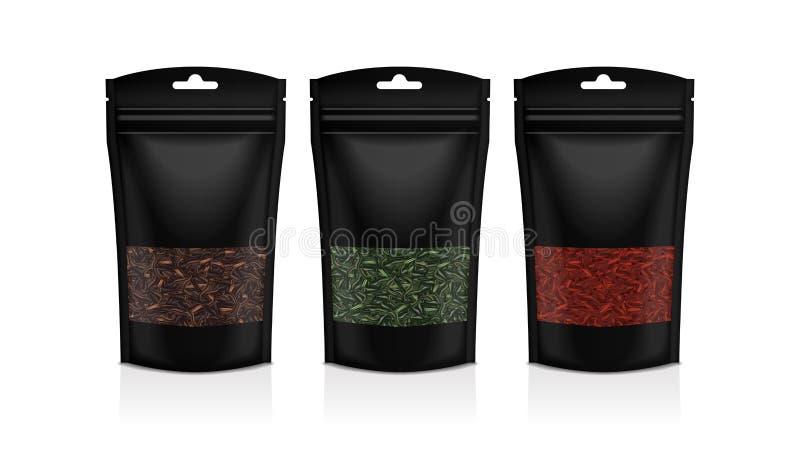 Czarny plastikowy worek z okno Czerń, zieleń, czerwona herbata Pakowa? szablonu mockup kolekcj? ilustracji