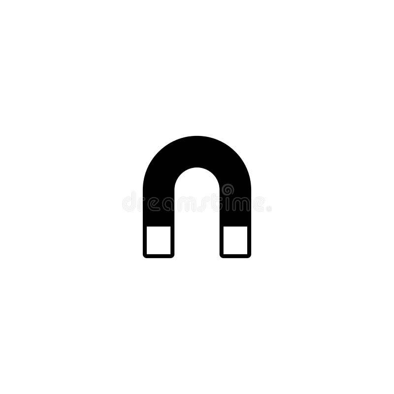 Czarny podkowa magnes z magnesową władzy ikoną odizolowywającą na bielu kształtująca magnes ikona ilustracji