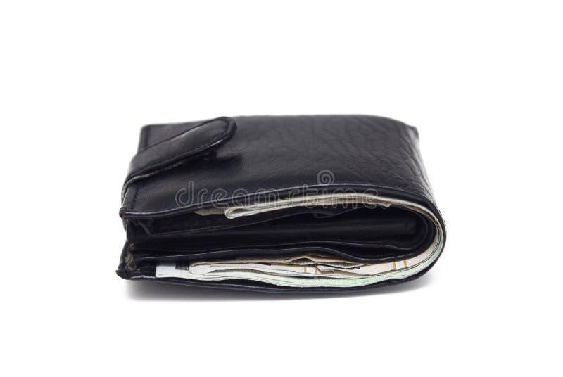 Czarny portfel wyizolowany na biało zdjęcia stock