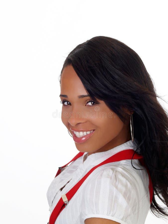 czarny portret kobiety mili młodzi uśmiechu zdjęcie stock