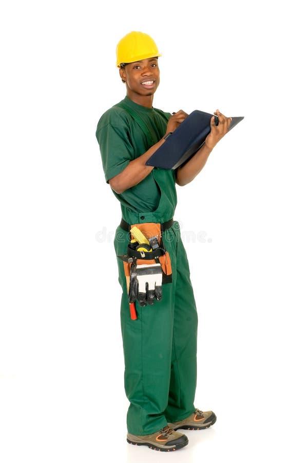 czarny pracownik budowlany zdjęcie stock