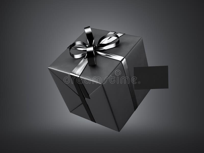 Czarny prezenta pudełko z czarną tasiemkową łęku i pustego miejsca wizytówką, odizolowywającą na ciemnym tle 3 d czynią ilustracji