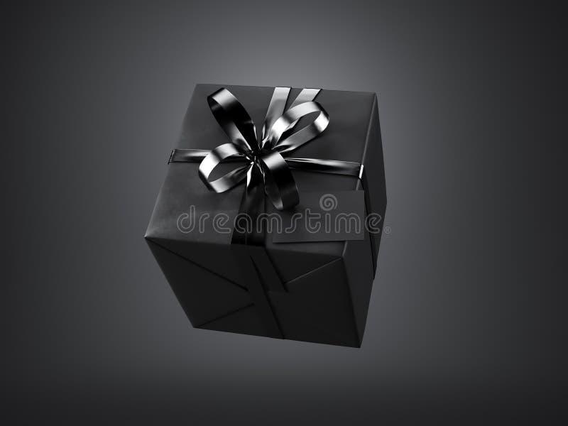 Czarny prezenta pudełko z czarną tasiemkową łęku i pustego miejsca wizytówką, odizolowywającą na zmroku, horyzontalnym 3 d czynią ilustracja wektor