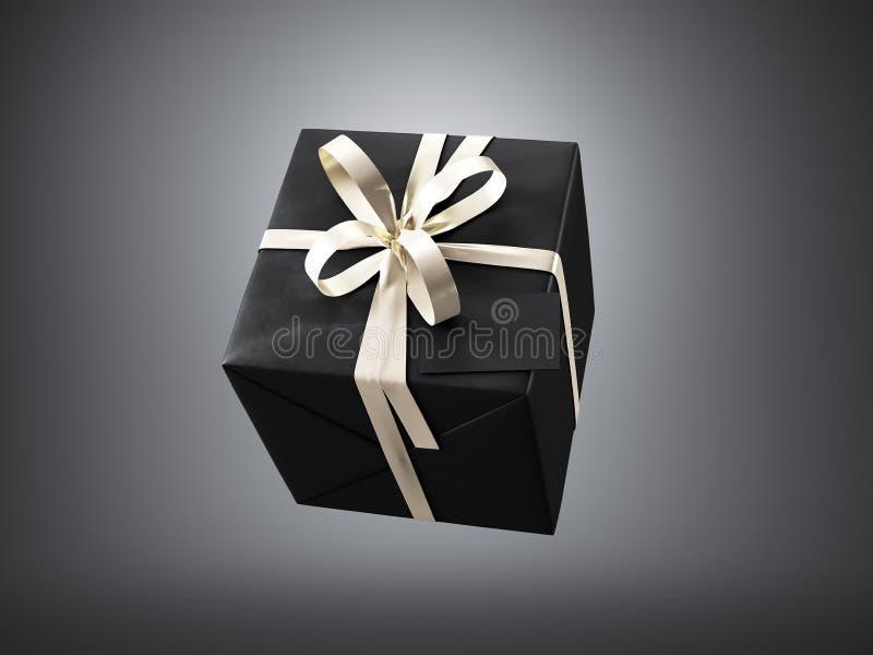 Czarny prezenta pudełko z złotą tasiemkową łęku i pustego miejsca wizytówką, odizolowywającą na zmroku, horyzontalnym 3 d czynią ilustracji