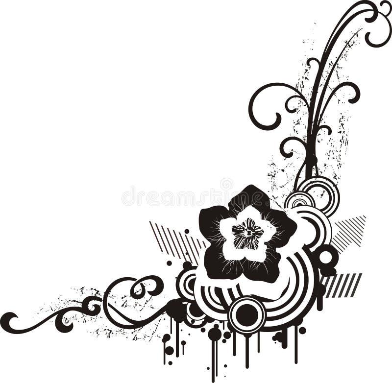 czarny projekt white kwiecistego royalty ilustracja