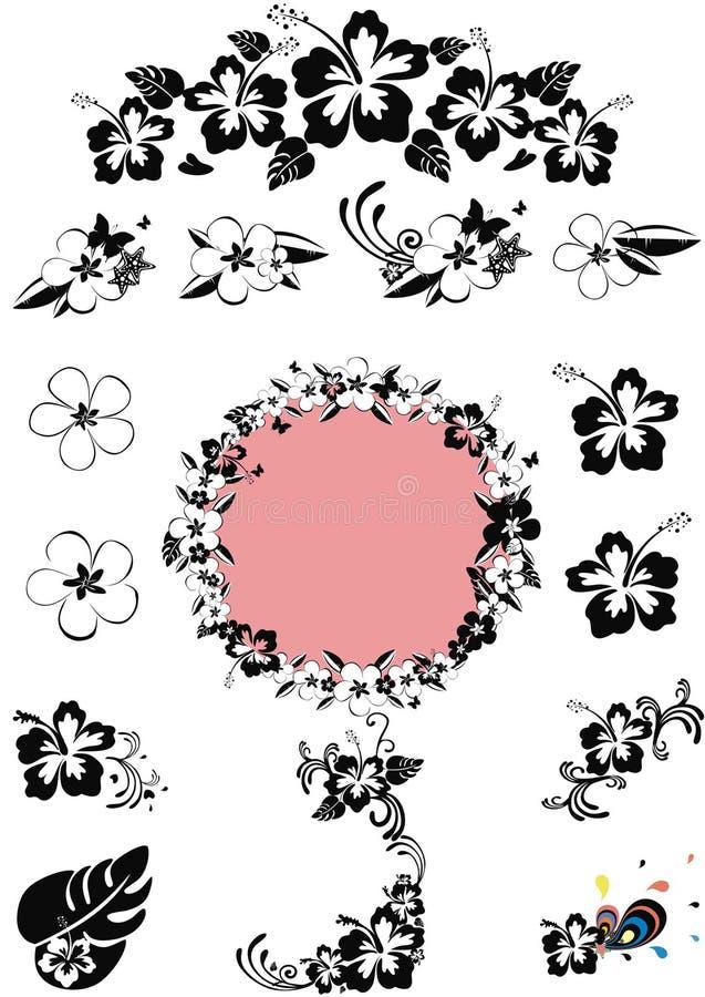 czarny projekta kwiecisty Hawaii n biel royalty ilustracja
