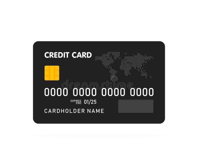Czarny prosty karta kredytowa szablon na białym tle wektor ilustracji