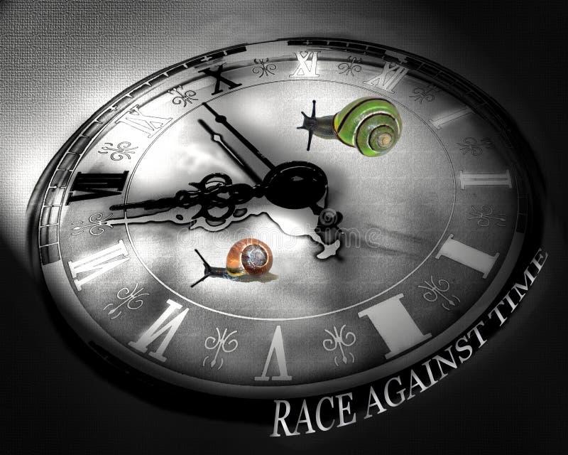 czarny przeciw zegarowi kolor biały ślimaki się czas ilustracja wektor