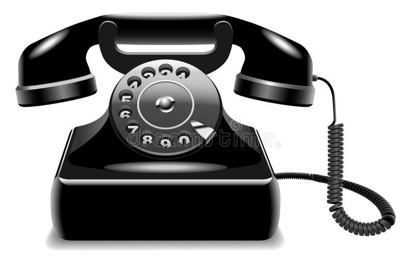 czarny przestarzały telefon ilustracji
