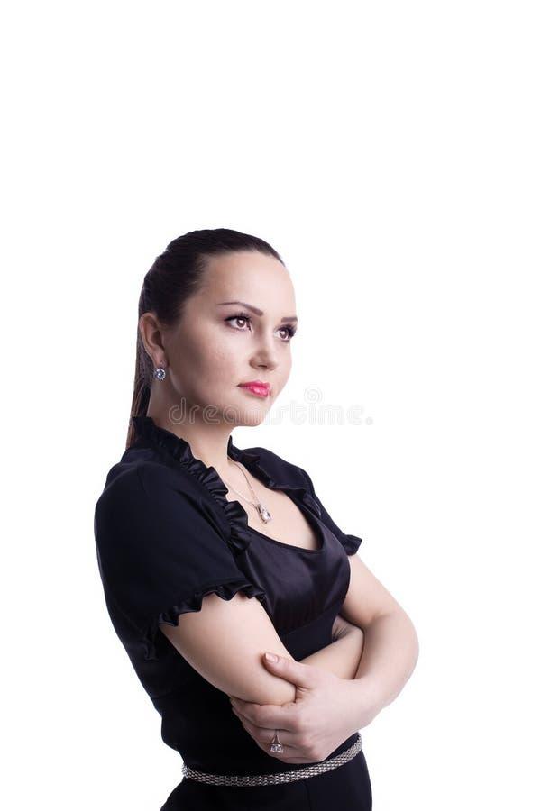 czarny przypadkowa przedniego spojrzenia kostiumu kobieta obrazy stock