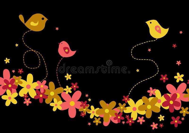 czarny ptaków kwiaty obrazy royalty free