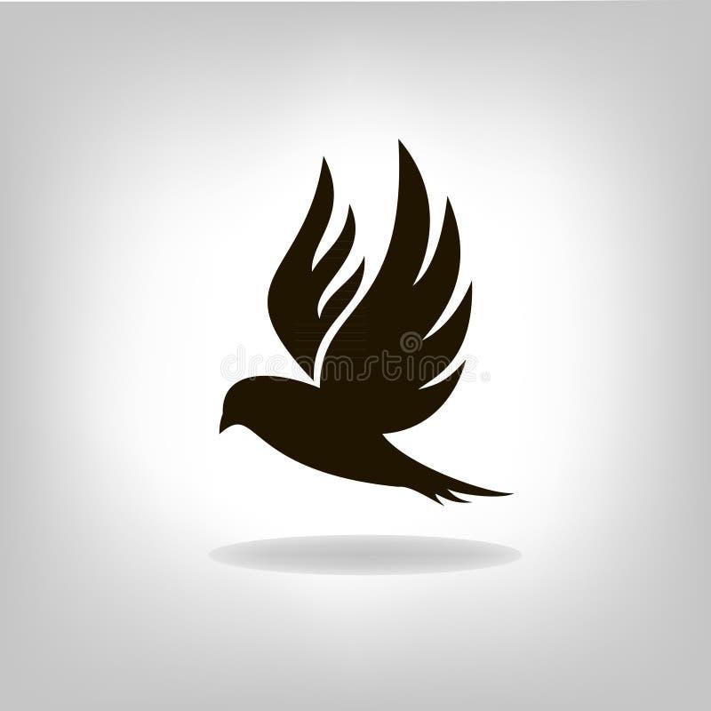 Czarny ptak odizolowywający z szeroko rozpościerać skrzydłami ilustracja wektor