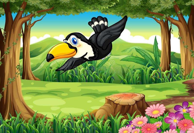 Czarny ptak przy dżunglą royalty ilustracja
