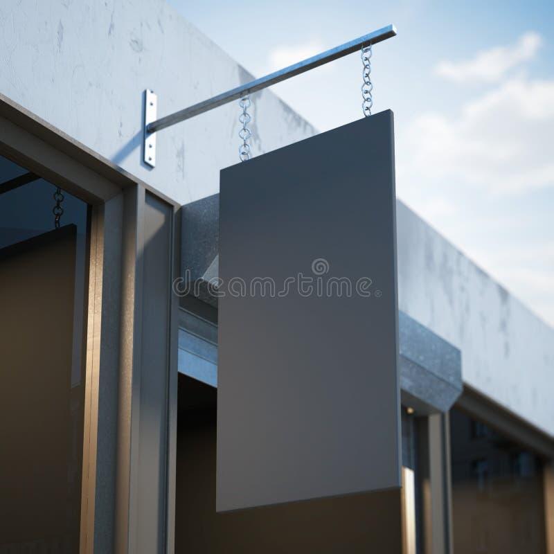 Czarny pusty signboard wiesza blisko sklepowego drzwi fotografia stock