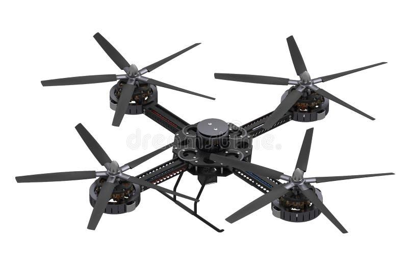 Czarny quadcopter truteń z kamerą ilustracja wektor