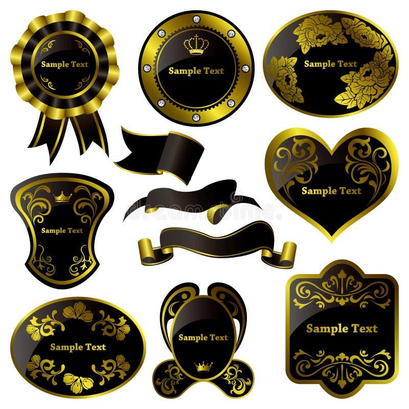 czarny ram złocisty luksusowy set royalty ilustracja