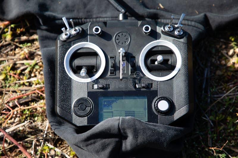 Czarny RC kontroler, nadajnik lub fotografia stock