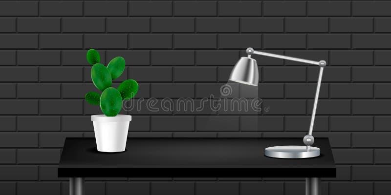 Czarny realistyczny stół z kaktusem i lampą, textured ścienny czarny backgound Wewn?trzny projekt Szablon dla przedmiot prezentac ilustracja wektor