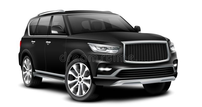 Czarny Rodzajowy SUV samochód Z Glansowaną powierzchnią Na Białym tle Z Odosobnioną ścieżką ilustracji