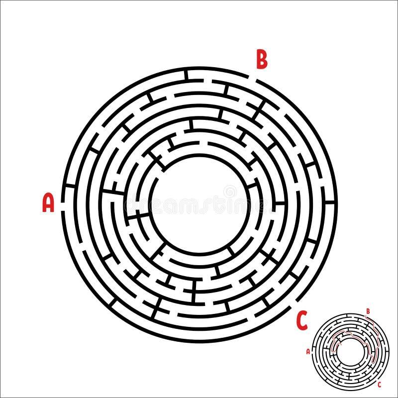 Czarny round labirynt gemowi dzieciaki Dziecka ` s łamigłówka Wiele wejścia, jeden wyjście Labitynt zagadka Prosty płaski wektoro royalty ilustracja