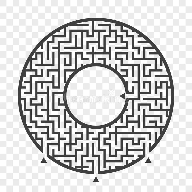 Czarny round labirynt Z trzy sposobami gemowi dzieciaki Łamigłówka dla dzieci Labitynt zagadka Płaska wektorowa ilustracja odizol royalty ilustracja