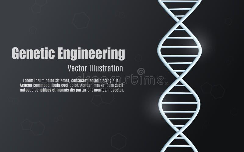 Czarny rozjarzony tło inżynieria genetyczna, dna cząsteczkowa struktura ilustracji
