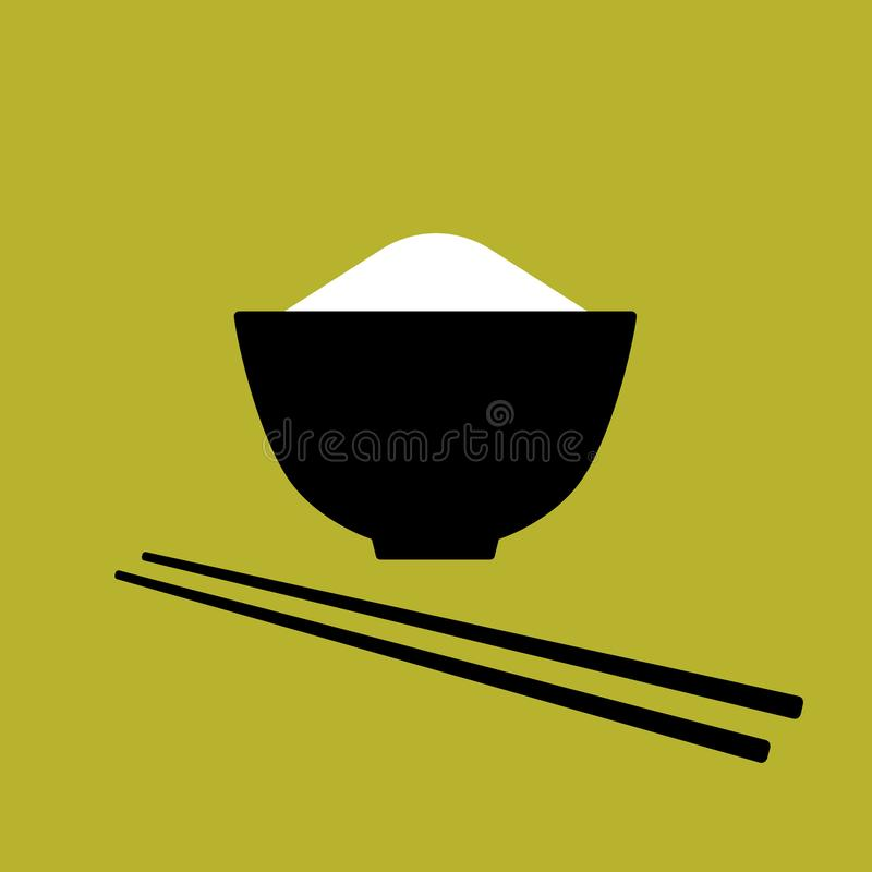 Czarny ryżowy puchar z parą chopsticks, prosta azjatykcia karmowa ikona, wektor ilustracja wektor