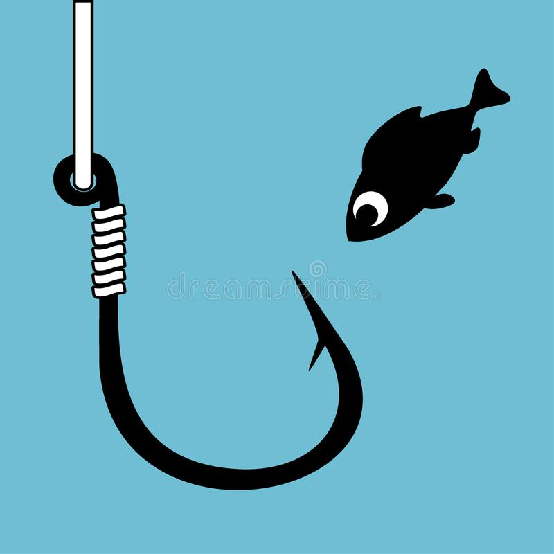 Czarny rybi haczyk z połów linią na błękicie Śmieszna kreskówki ryba patrzeje haczyka Pojęcie ciekawość Zamknięty niebezpieczeńst ilustracja wektor