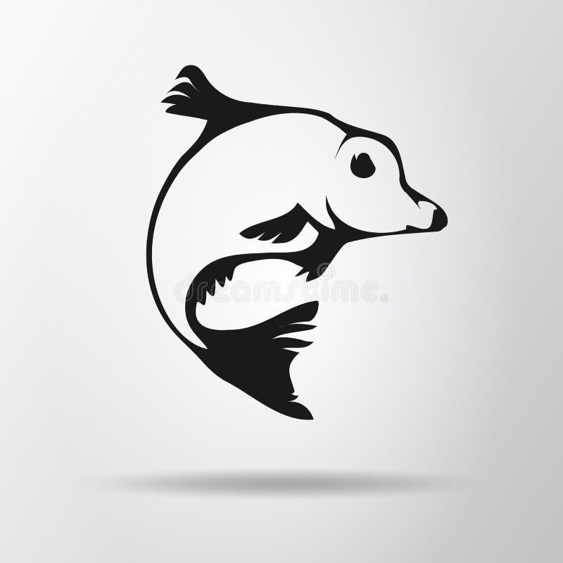 Czarny rybi logo odizolowywający na szarym tle z cieniem Karpiowa ikona, symbol carpio cyprinus Wektorowa ilustracja, EPS10 ilustracji
