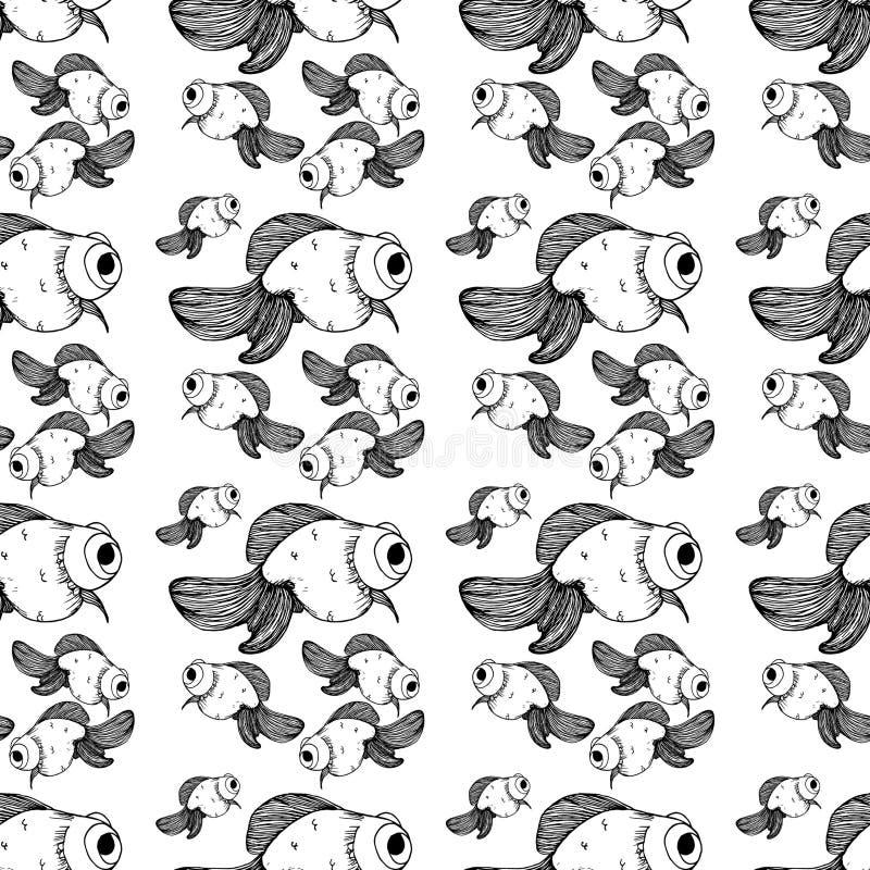 Czarny rybi złoto linii wzór na białym tle royalty ilustracja
