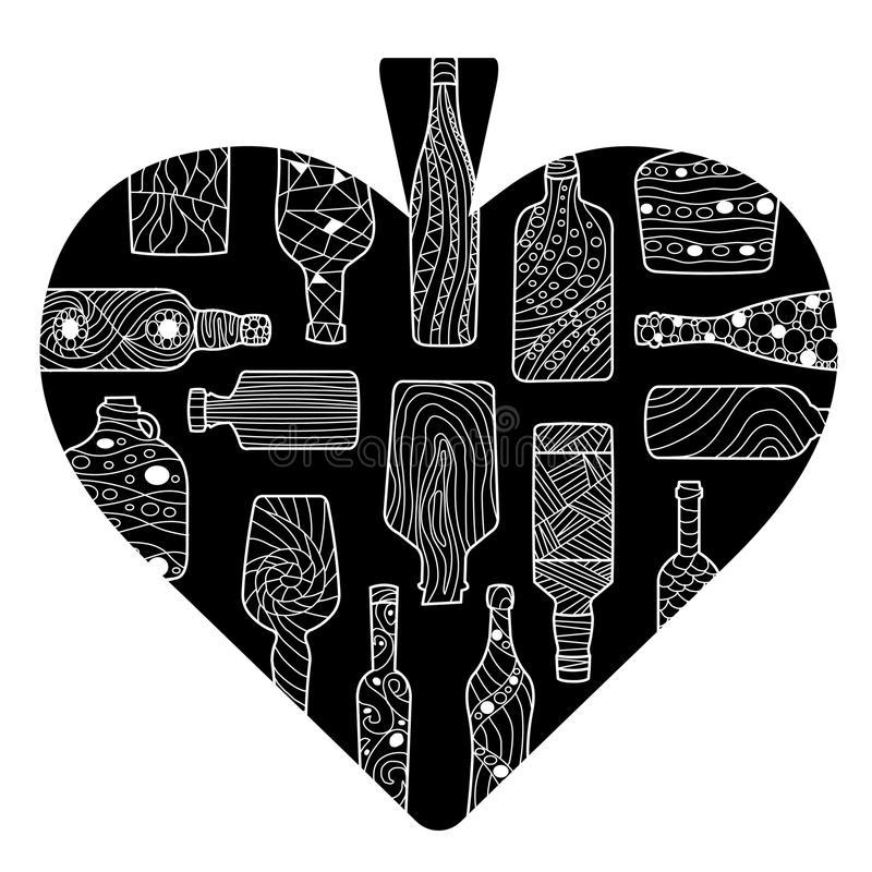 Czarny rydel kreskówki serce z ręki rysować butelkami ilustracji
