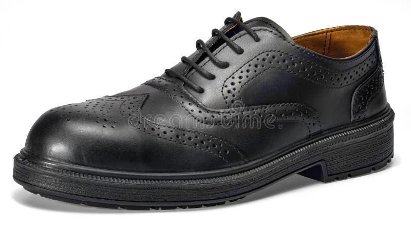 Czarny rzemienny but obrazy stock