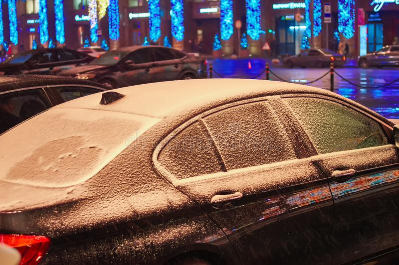 Czarny samochód zakrywa z fotografia royalty free