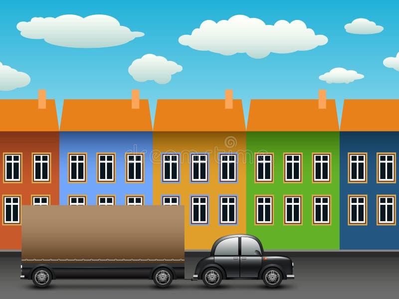 czarny samochodowa przyczepa ilustracji