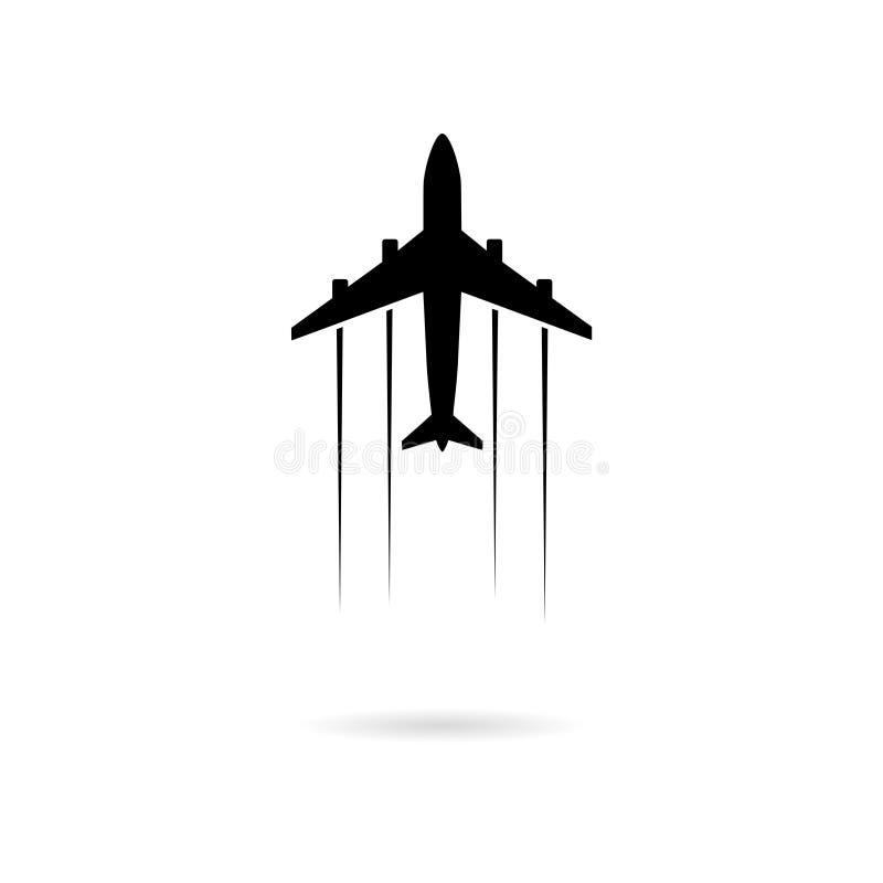 Czarny samolotu logo, samolot lub ikona i ilustracji