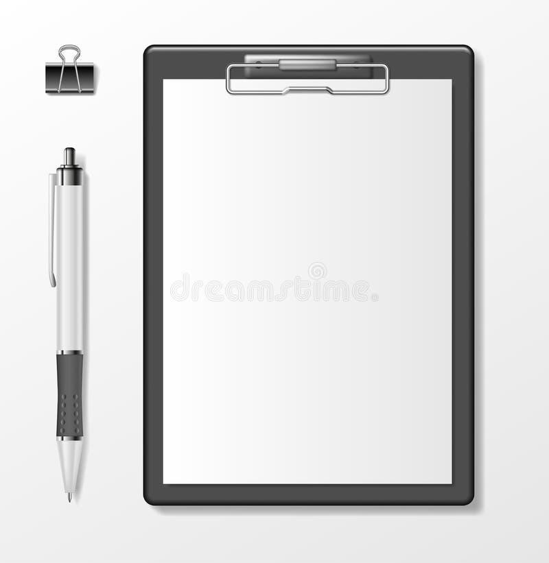 Czarny schowek z pustym białego papieru prześcieradłem i pióro odizolowywający na bielu Biznesowy materiały szablon realistyczny ilustracja wektor