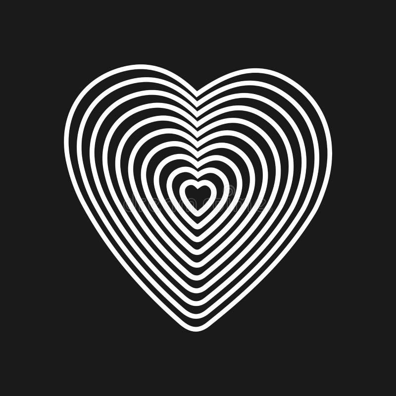 Czarny serce na białym tle Okulistyczny złudzenie 3D trójwymiarowa pojemność postać z kreskówki śmieszny ilustratora ołówek pisze ilustracja wektor