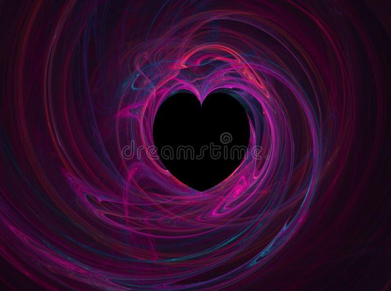 czarny serce różowi royalty ilustracja