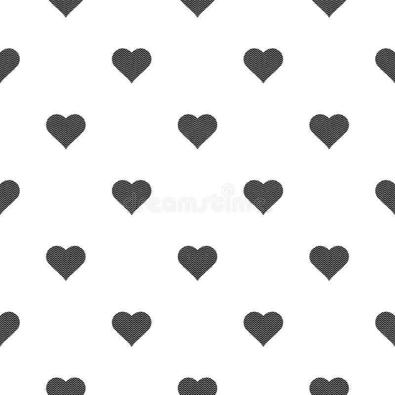 Czarny serce symbolu wzór na białym tle ilustracji