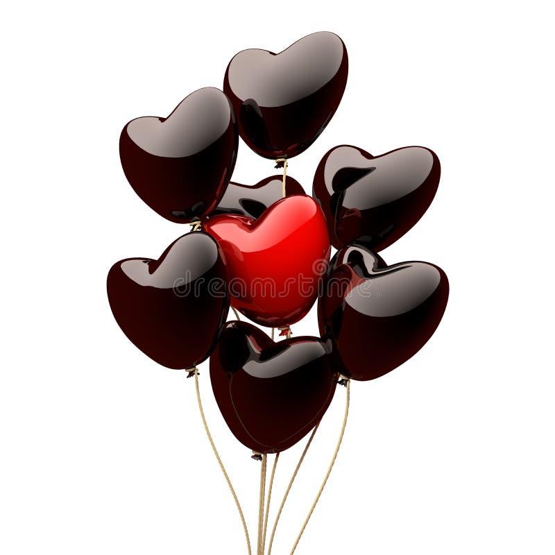 Czarny serce szybko się zwiększać na białym tle 3 d czynią ilustracji