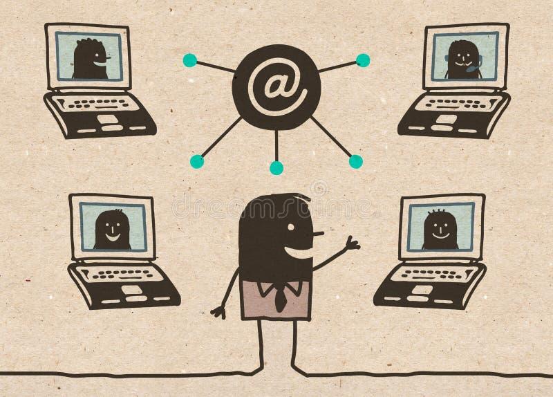 Czarny sieci spotkanie i ilustracji