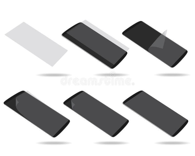 Czarny smartphones pokaz z ochraniacza szkła setem ilustracja wektor